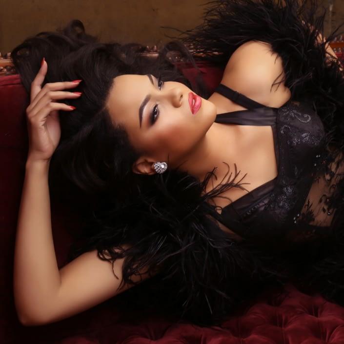 sexy photo woman boudoir studio orange county black lingerie