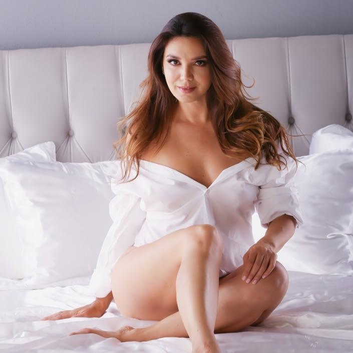 los angeles boudoir photo woman wearing mans shirt