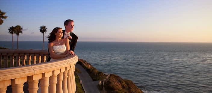ritz carlton bride groom balcony sunset